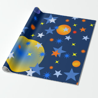 Celestial Stars and Planets Wrapping Paper