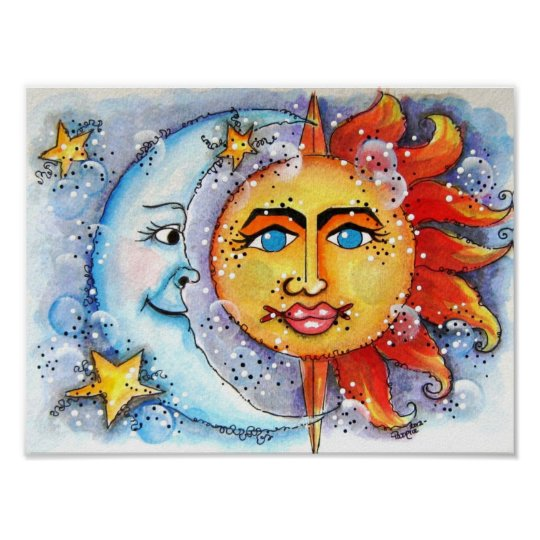 Celestial Sun and Moon Art Print and Poster