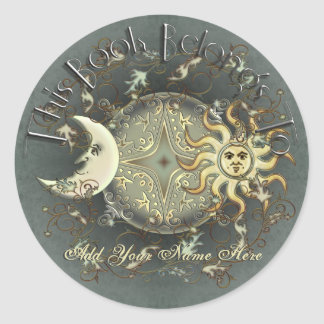 Celestial Sun and Moon Bookplate Stickers