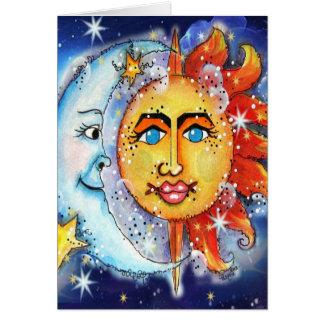 Celestial Sun and Moon Design Card