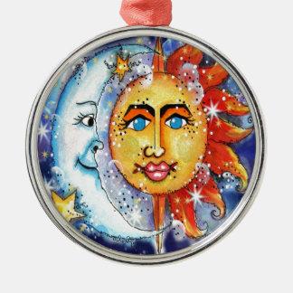 Celestial Sun and Moon Design Christmas Ornament