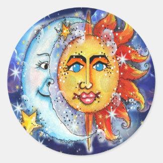 Celestial Sun and Moon Design Round Sticker