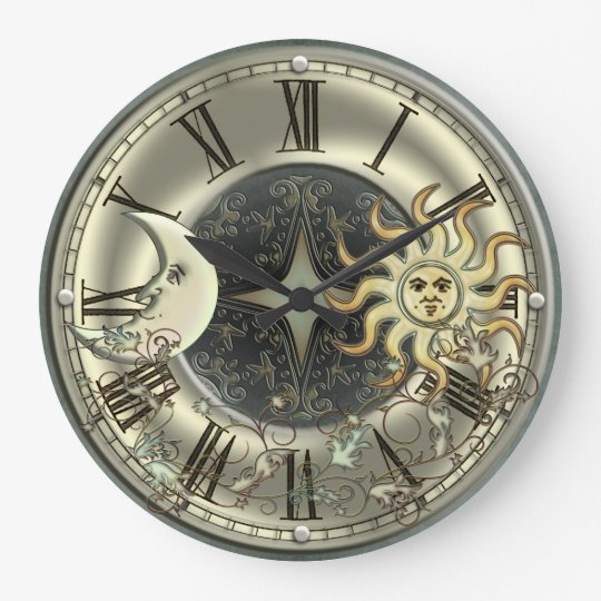 Celestial Sun And Moon Wall Clock Zazzle Co Uk