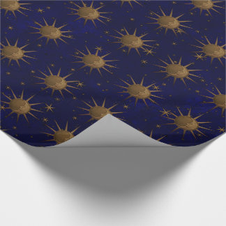 Celestial Sun Moon Brass Bas Relief Graphic Wrapping Paper