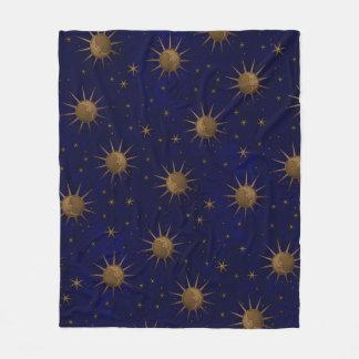 Celestial Sun Moon Starry Night Fleece Blanket
