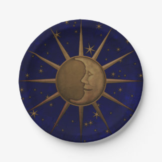 Celestial Sun Moon Starry Night Paper Plate
