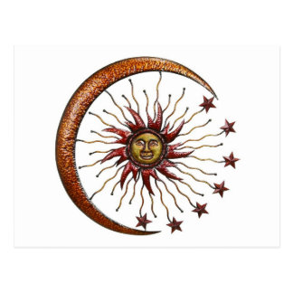 CELESTIAL SUN MOON & STARS ABSTRACT POSTCARD