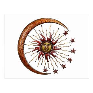 CELESTIAL SUN MOON & STARS ABSTRACT POSTCARD