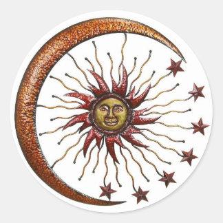 CELESTIAL SUN MOON & STARS ABSTRACT ROUND STICKER