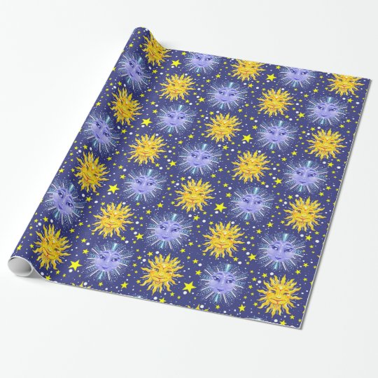 celestial sun moon stars gift wrap wrapping paper