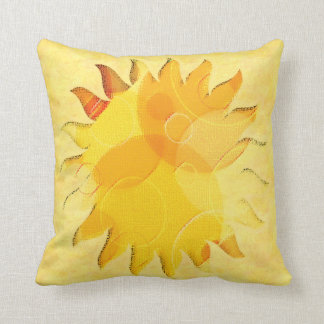 Celestial Sunshine Yellow Abstract Cushion