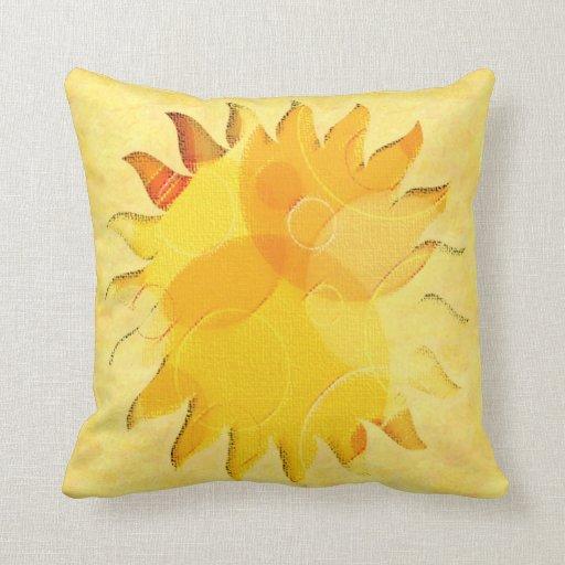 Celestial Sunshine Yellow Abstract Throw Pillows