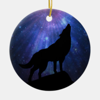 Celestial Wolf Christmas Ornament