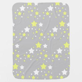 Celestial Yellow White Stars on Grey Gray Baby Blanket