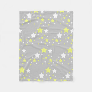 Celestial Yellow White Stars on Grey Gray Fleece Blanket