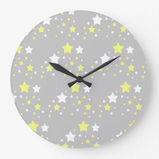 Celestial Yellow White Stars on Grey Grey Large