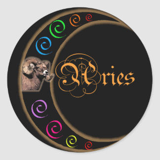 Celestrial Moon Aries Classic Round Sticker