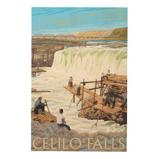 Celilo Falls Fishing Vintage Travel Poster