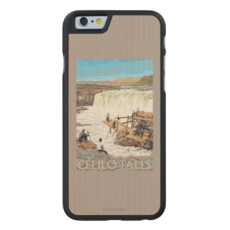 Celilo Falls Fishing Vintage Travel Poster Carved Maple iPhone 6 Case