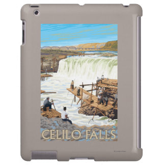 Celilo Falls Fishing Vintage Travel Poster iPad Case