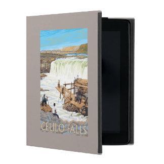 Celilo Falls Fishing Vintage Travel Poster iPad Case