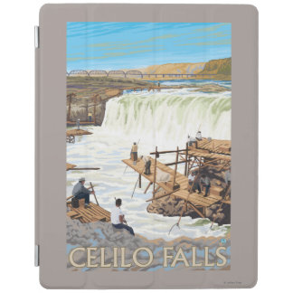 Celilo Falls Fishing Vintage Travel Poster iPad Cover