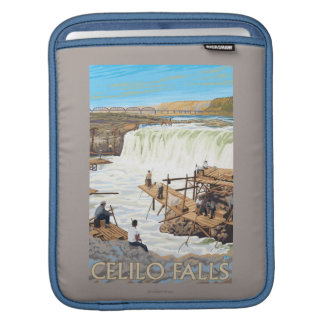 Celilo Falls Fishing Vintage Travel Poster Sleeve For iPads