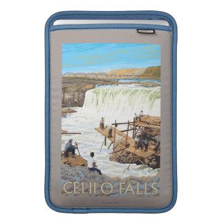 Celilo Falls Fishing Vintage Travel Poster Sleeve For MacBook Air