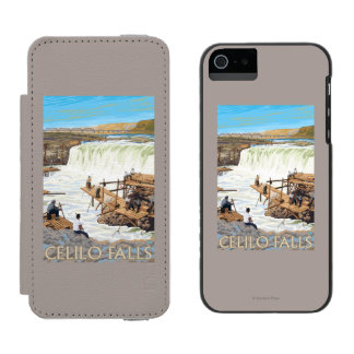 Celilo Falls Fishing Vintage Travel Poster Incipio Watson™ iPhone 5 Wallet Case