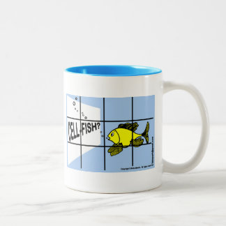 Cell-Fish Hilarious Cell Fish selfish fish cartoon Two-Tone Coffee Mug