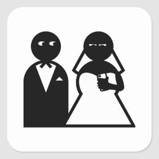 Cell Phone Bride at Wedding Square Stickers