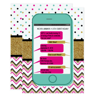Cell Phone Texting  Invitation - Teen Birthday