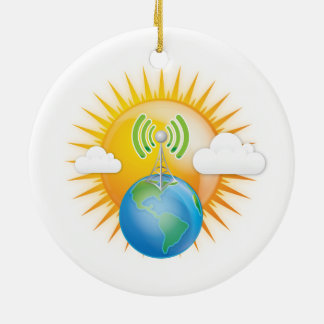 CELL TOWER EARTH ROUND CERAMIC DECORATION