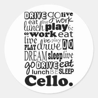 Cellist Gift Cello Player Round Sticker