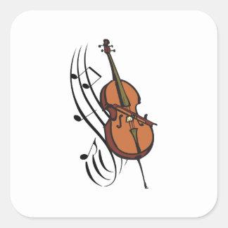 CELLO AND MUSIC SQUARE STICKER