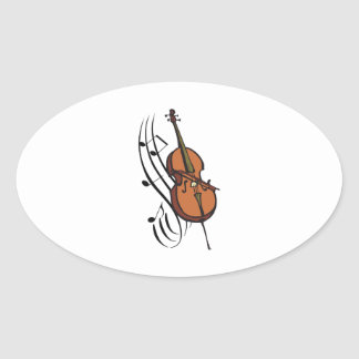 CELLO AND MUSIC OVAL STICKERS