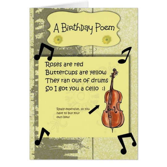 Cello Birthday Poem Card