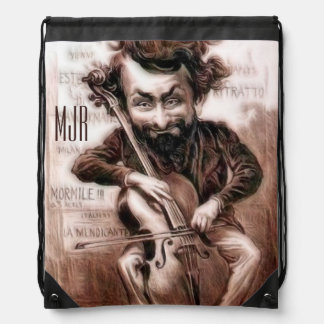 Cello Chops   Vintage Muscian   Wall Art Drawstring Bag