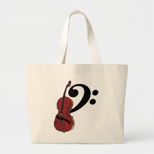 Cello Clef Totebag Large Tote Bag