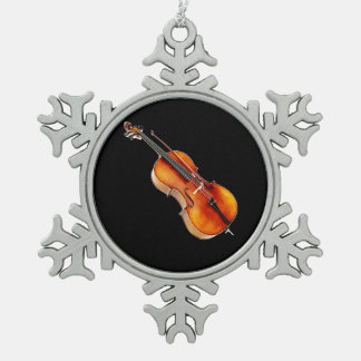 """""""Cello"""" design gifts and products Snowflake Pewter Christmas Ornament"""