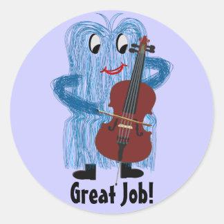 Cello - Get a Warm Fuzzy Feeling Round Sticker