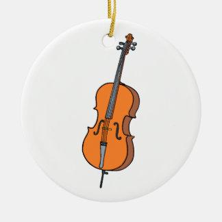 Cello Graphic , ViolinCello Music Design Round Ceramic Decoration