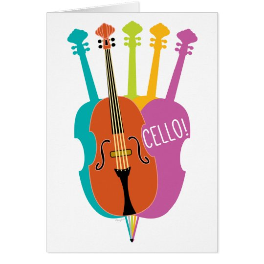 Cello Hello Musical Instruments Colourful Note Card