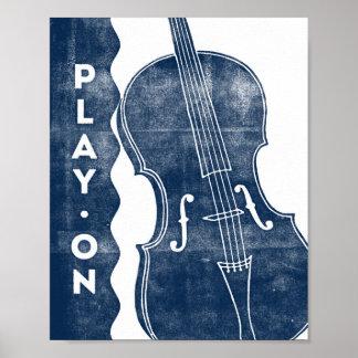 Cello Music Poster Blue White Play On Art Print