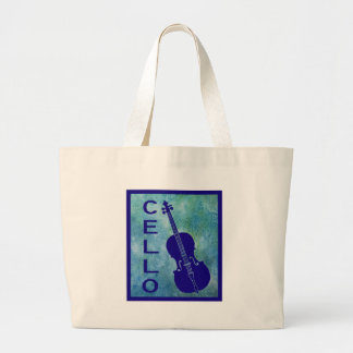 Cello on a Field of Blue Large Tote Bag