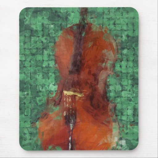 Cello On Green Mouse Pads