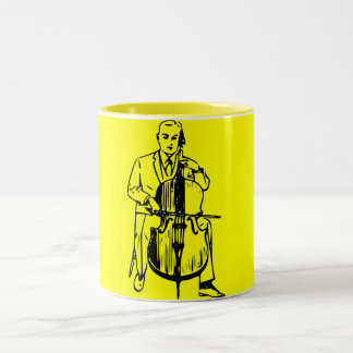 Cello one plays brook Two-Tone coffee mug
