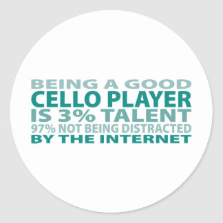 Cello Player 3% Talent Classic Round Sticker