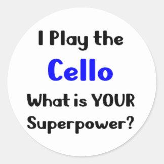 Cello player round sticker
