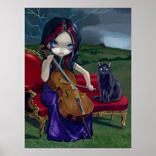 Cello Storm Art Print black cat gothic music